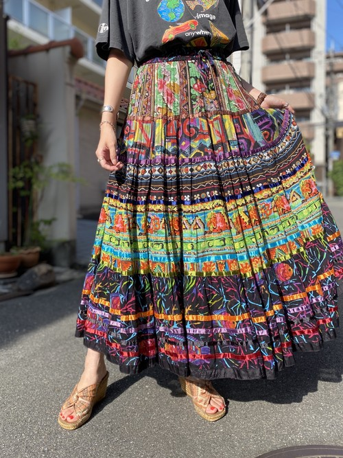 Indian cotton skirt colorful