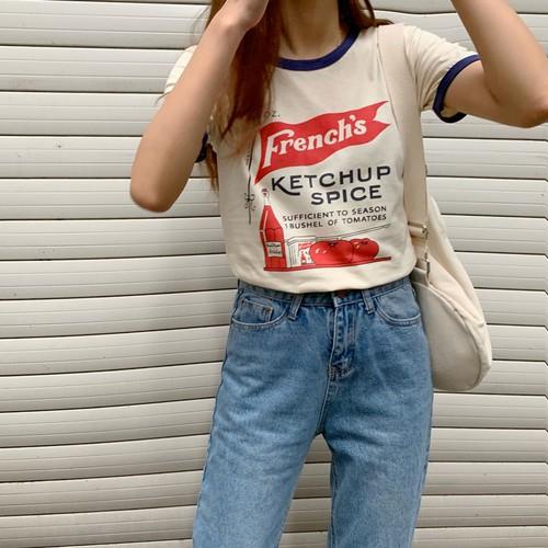 【トップス】配色プリントファッション半袖Tシャツ