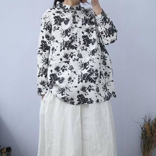 花柄コットンリネンプルオーバーシャツ C0696