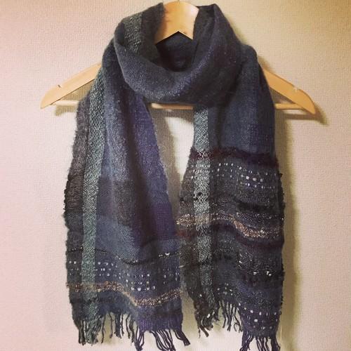 手織りマフラー ウール モヘア 0013 handweaving scarf
