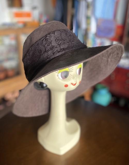リネンの着せ替え帽子ターバン付き_UVカット_Brown