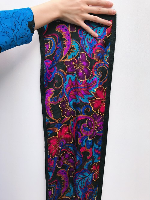 80s black × multi color paisley  & floral poly scarf ( ヴィンテージ ブラック × マルチカラー ペイズリー × 花柄 ポリ スカーフ