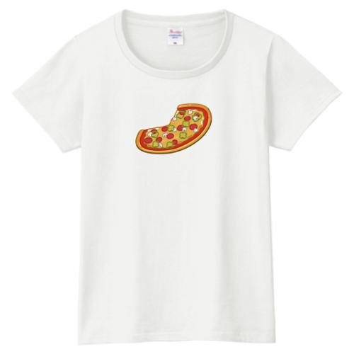 送料無料!【白・ピンク】ピザ柄レディースTシャツ