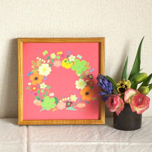 「春のリース(珊瑚色)」20cm角ポスター