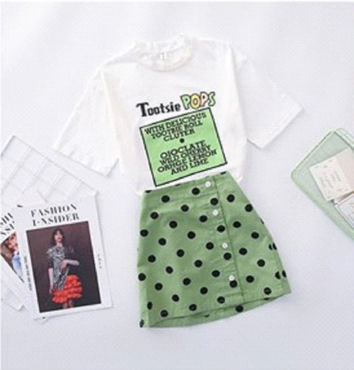 Tシャツドット柄タイトスカート セットアップ