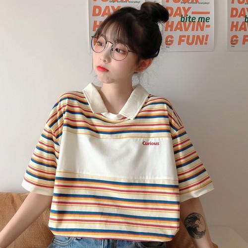 ゴスロリ  POLOネック 半袖 ボーダー柄 ゆったり 可愛い 韓国ファッション 学生 Tシャツ・トップス