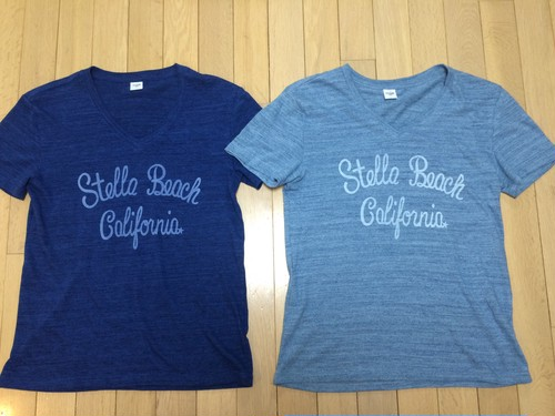 men's Vneck☆Stella beach California☆T-shirt