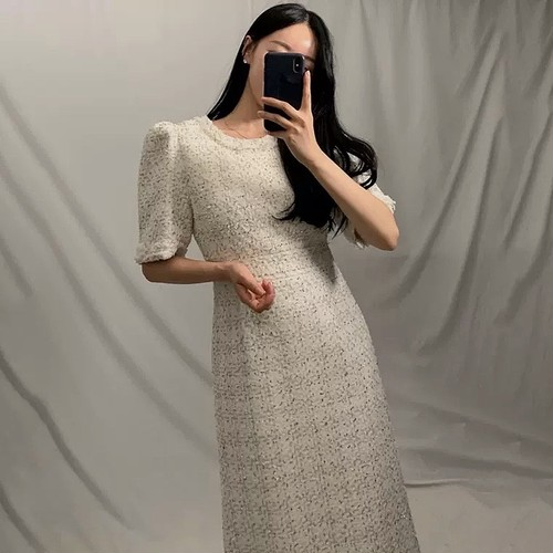 tweed long dress 2color