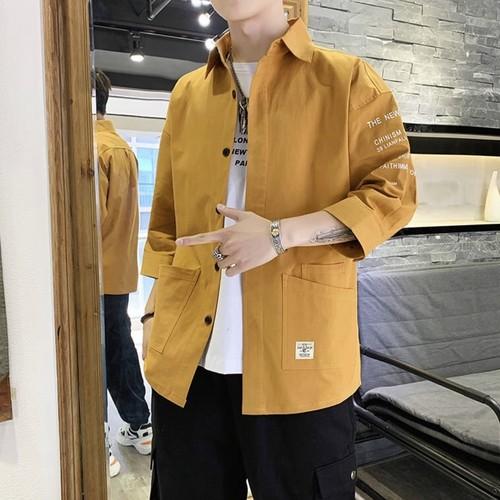 カジュアル七分袖ジャケットシャツ 韓国風 夏服