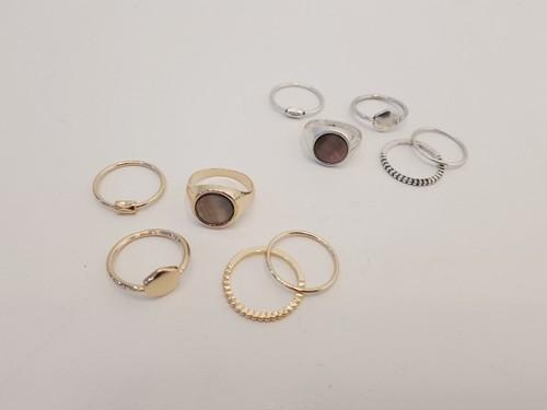 ラウンドストーンリング5SET 指輪 リング 韓国ファッション
