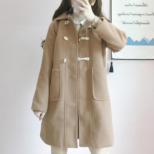 【アウター】スウィート学園風膝上折り襟ゆったりタイぷ細見えコート