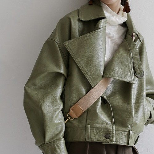 back slit button earth green leather jacket