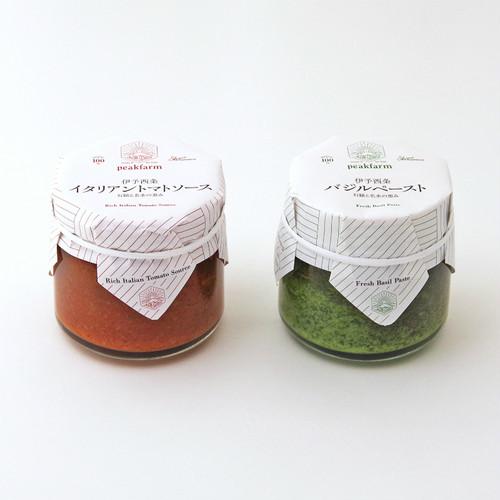 伊予西条イタリアンギフトセット(2個) バジルペースト&トマトソース 愛媛県産 peakfarm