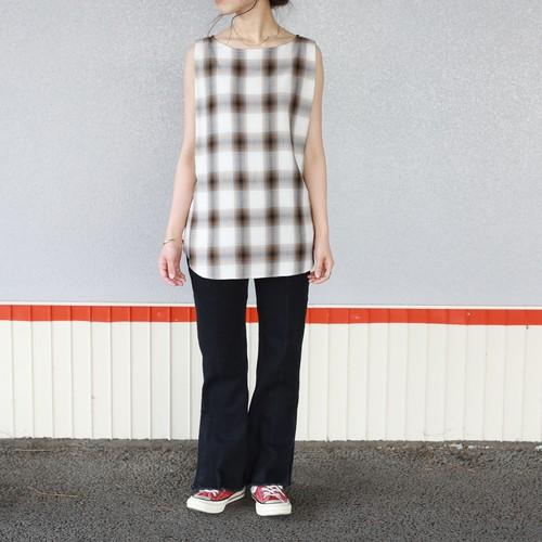 【PHEENY】Rayon ombre check sleeveless shirt(BROWN)