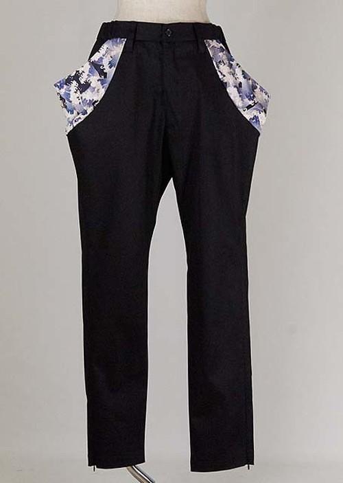 gouk侍 両脇のポケットにドレープが入った裾が細くなったパンツ GGD27-P813 BK/MM