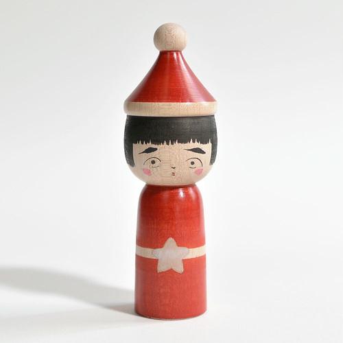 クリスマスこけし 約3.5寸 約10.5cm 長谷川優志 工人(津軽系)#0081