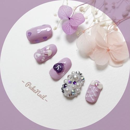 Pukeネイル発送無料[No.248] パール&ダイヤデコ可愛い紫デートバ・パーティー・着物・♡v♡ジェイルネイルチップ