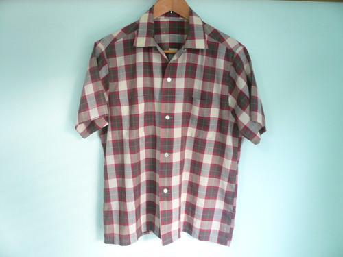 アメリカ製 ビンテージ オープンカラー チェックシャツ 60s OLD /シャドーオンブレ
