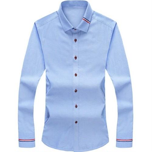 送料無料メンズビジネスコーデにも○6色ポイントライン長袖ワイシャツ