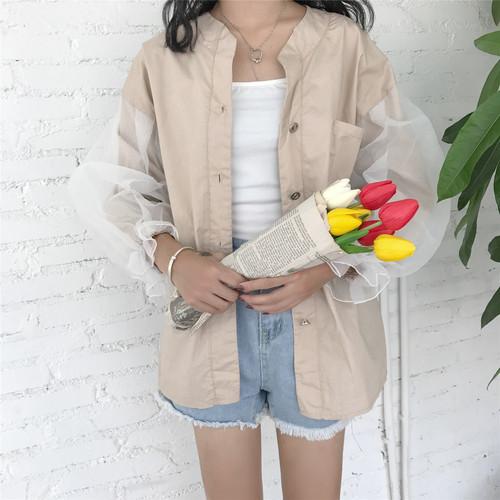 lace sleeve fall jacket 2874