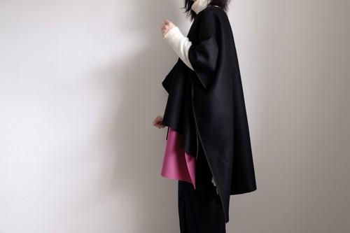 2way ポンチョ コート / ワイドスクエアー プルオーバー /カシミヤ ウール メルトン【 ブラック 】ボートネック スリット / poncho coat wide square  pullover / wool cashmere melton【 black 】boat neck slit
