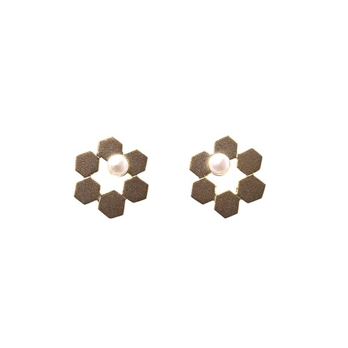 Geometric Honeycomb Posts - Small Pearl