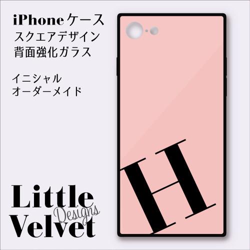 イニシャルが入れられるiPhoneケース/スクエア型強化ガラス [PC546PK] ピンク