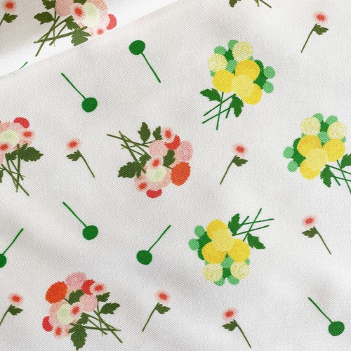 < pom pom bouquet spring > コットンリネンキャンバス生地 45cm x 68cm