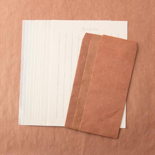 柿渋和レターセット(柿渋和封筒3枚、便箋10枚)