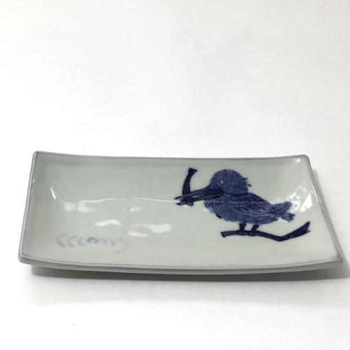 カワセミ角小皿