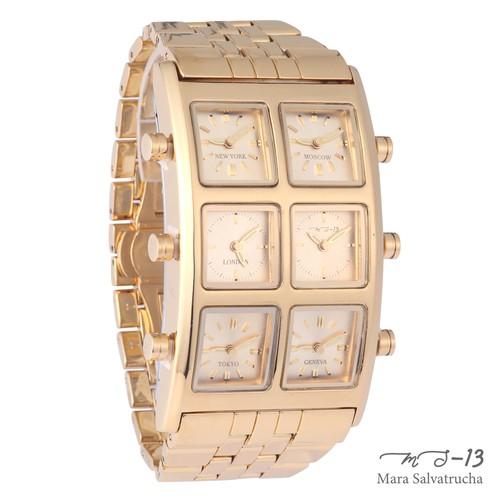 【MS-13】腕時計 6TIME ZONE シックスタイムゾーン (カラー:ゴールド×ゴールド)[限定100本のみ]