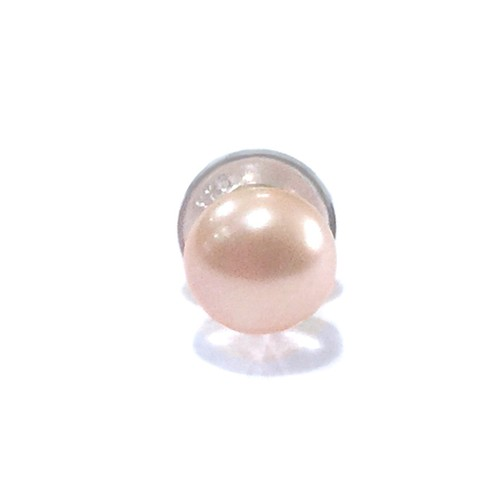 天然素材の小さなピアス(本真珠オレンジピンク/シングル) ☆数量限定品