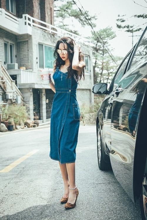 大人カジュアル♪ ラップジャンパースカート デニム 体系カバー ゆるカジ アメカジ かわいい ケミカル ジーンズ
