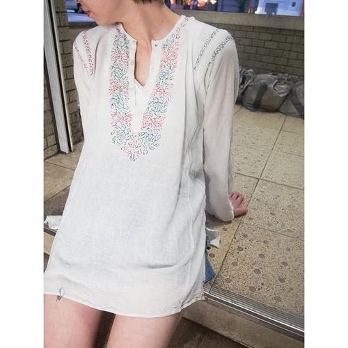 india cotton 刺繍チュニックシャツ