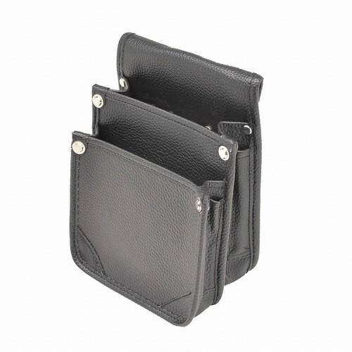 マルキン印 内側ポケット付レザー腰袋 AⅡ 黒