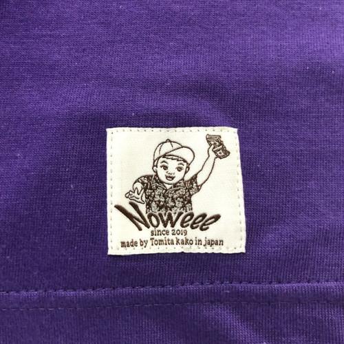 Noweee ロングTシャツ バックプリント パープル メンズ
