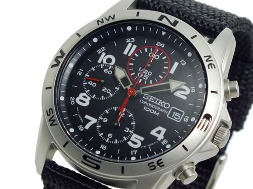 セイコー SEIKO クロノグラフ メンズ 腕時計 SND399P ブラック ブラック