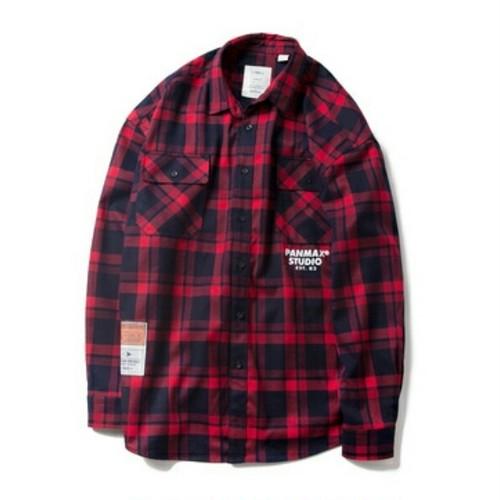 送料無料ユニセックス大きいサイズ赤チェック長袖シャツ