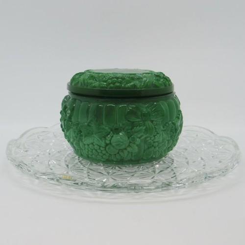 ボヘミアガラスの小物入れ::: リボンと果物②