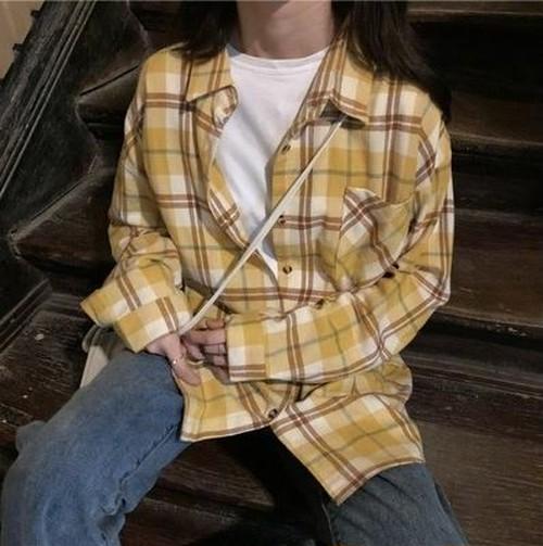チェック柄シャツ シャツブラウス 長袖トップス カジュアル ガーリー デイリーユース ラフ ゆったり イエロー系 羽織り