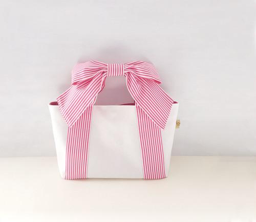 リボントート* mignon (ピンクストライプ × ホワイト帆布)
