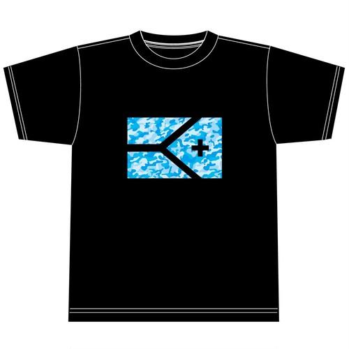 KYUS迷彩フラッグ 半袖ドライメッシュTシャツ ブラック×青迷彩