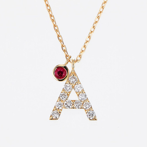 Initial K18YG Diamond【A】Pendant Necklace with Charm (ダイヤモンド イニシャル【A】ペンダントネックレス チャーム付き)