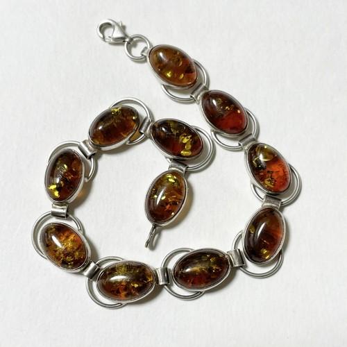 Vintage Baltic Amber 925 Silver Link Bracelet Made In Poland