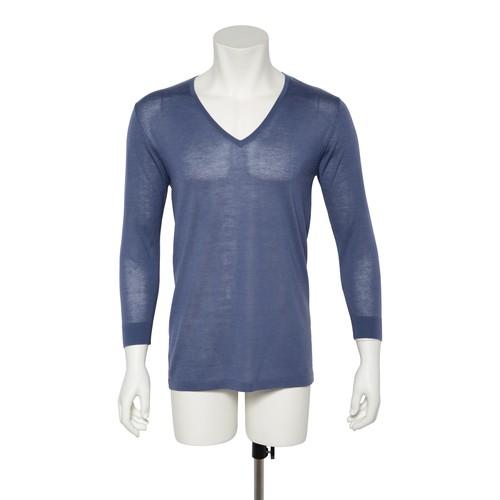 カシミヤ100%Vネック八分袖シャツ インディゴブルー メンズニット 柔らかく暖かい