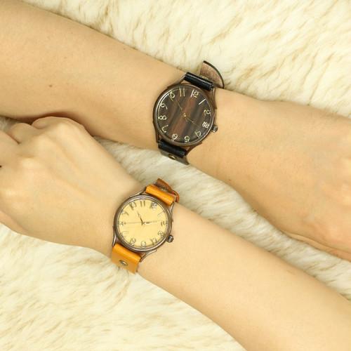 ヴィー VIE 腕時計 ペアウォッチ メンズ レディース WB-045X WB-045L ハンドメイドウォッチ クォーツ ブラウン(黒檀) ライトブラウン(蜜柑) ベージュ(シナ) ブラウン