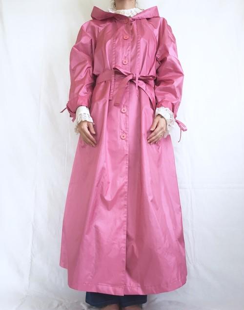 vintage pink maxi rain coat