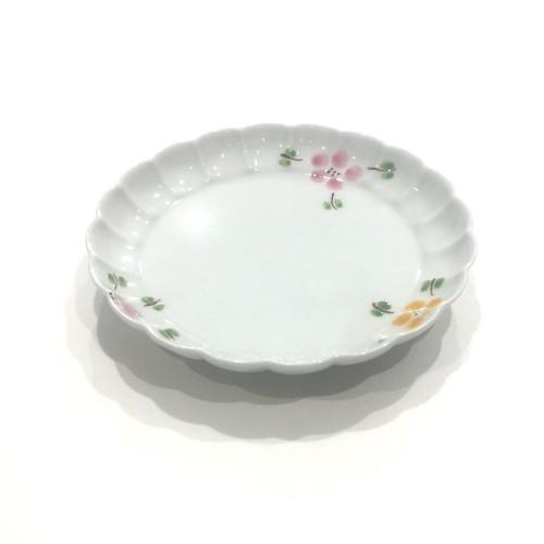 二色花絵  菊割皿