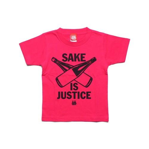 【KIDS SAKE Tシャツ】SAKE IS JUSTICE / トロピカルピンク