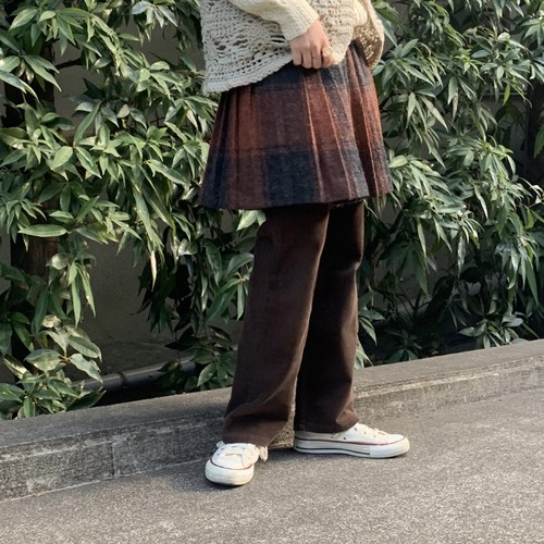 (LOOK) check wool pleats skirt